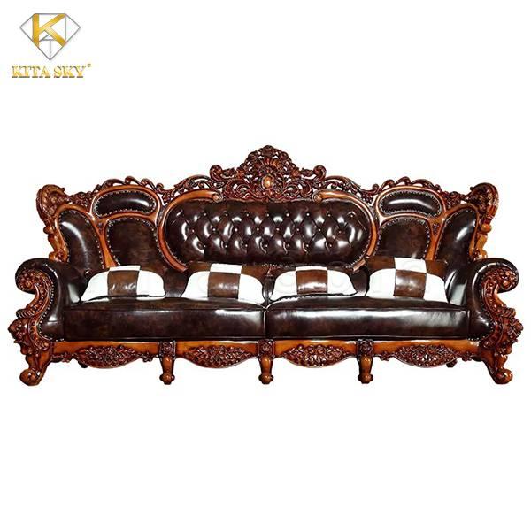 Sofa gỗ và da chính là sự phối trộn độc đáo mang lại cuộc sống tiện nghi