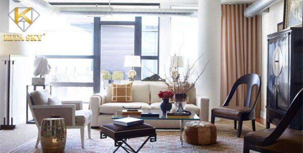 Bộ sofa đơn màu trắng thiết kế gọn gàng nhưng không kém phần tinh tế được phối hợp với nội thất màu gỗ hay màu trung tính như đen, xám để tạo sự thoải mái cho không gian. Sofa màu trắng lúc này là điểm nhấn nhá của phòng khách gia đình.