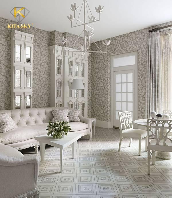 Nội thất sofa màu trắng tinh tế là sự lựa chọn được nhiều người yêu thích. Một không gian hoàn toàn chỉ sử dụng 2 gam màu trắng và xám trắng trông rất đẹp mắt. Nhấn nhá thêm bằng một lọ hoa, vừa khiến không gian thanh lịch vừa nhuộm màu tự nhiên tươi sáng.