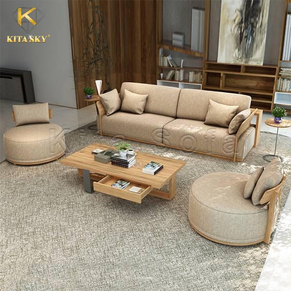 Sofa gỗ vải Aurelia – Xu hướng mới cho phòng khách hiện đại