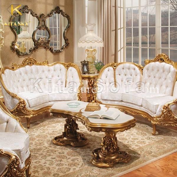 Mẫu bàn ghế sofa dát vàng Margaret siêu sang và bừng sáng!