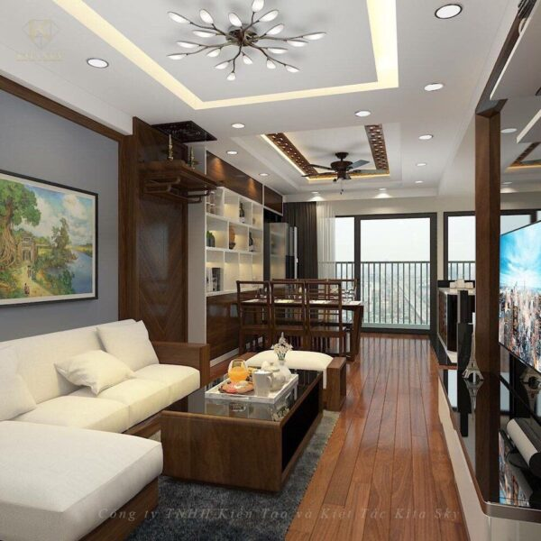 Không gian nội thất phòng khách được bày trí vô cùng hiện đại. Đó là sự kết hợp hài hòa giữa chất liệu gỗ cùng bộ sofa bọc da sang trọng. Mang đến một vẻ đẹp dung dị và tinh tế. Sử dụng những chiếc đèn cách điệu đầy mỹ miều mang đến một thiết kế gọn nhẹ, tiện nghi.