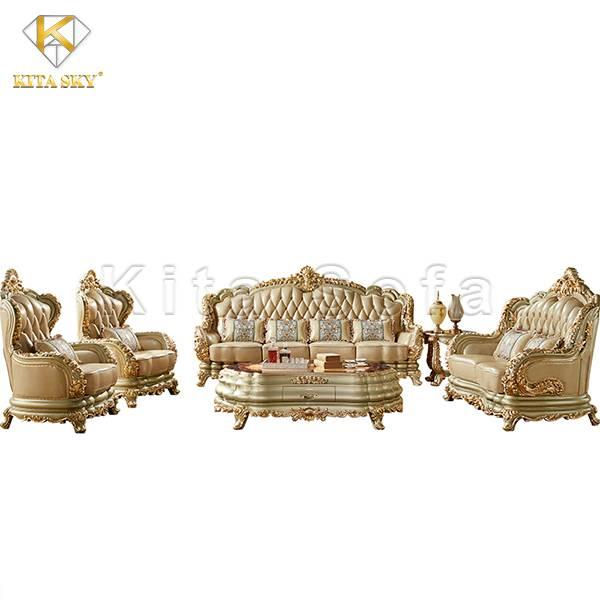 Mẫu bàn ghế sofa cổ điển dát vàng – Uy nghi và đẳng cấp