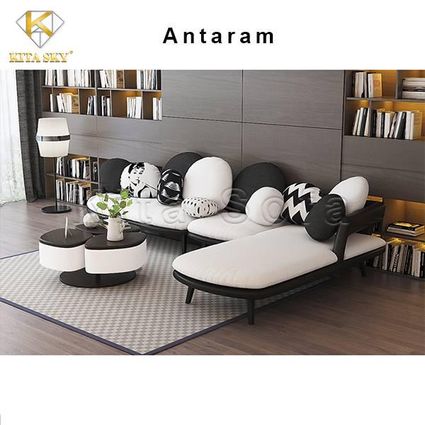 Chất liệu của sopha phòng khách Antaram là gỗ tự nhiên và da bọc hạng sang cao cấp