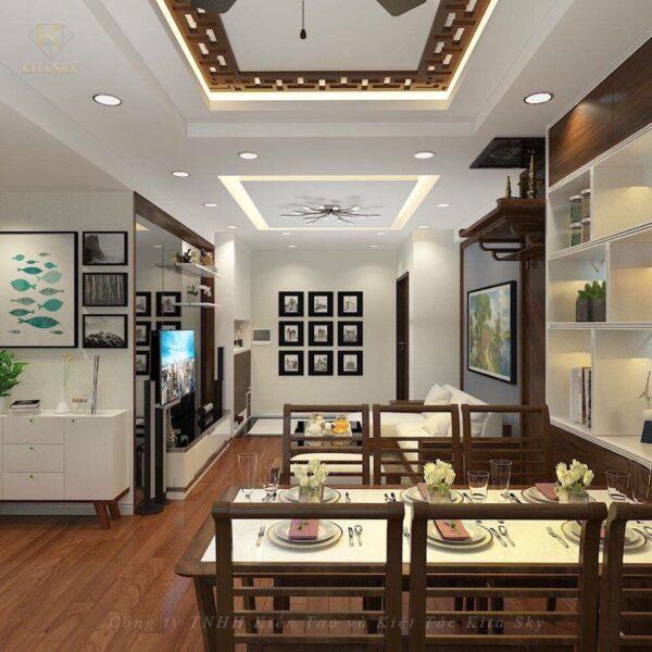 Nội thất phòng ăn cực kỳ gọn gàng và hiện đại. Những bức tranh nhỏ lồng ghép cùng các mảng cây xanh nho nhỏ giúp không gian đầy sức hút. Tone màu vàng và nâu được sử dụng triệt để mang lại một không gian ấm cúng vô cùng.