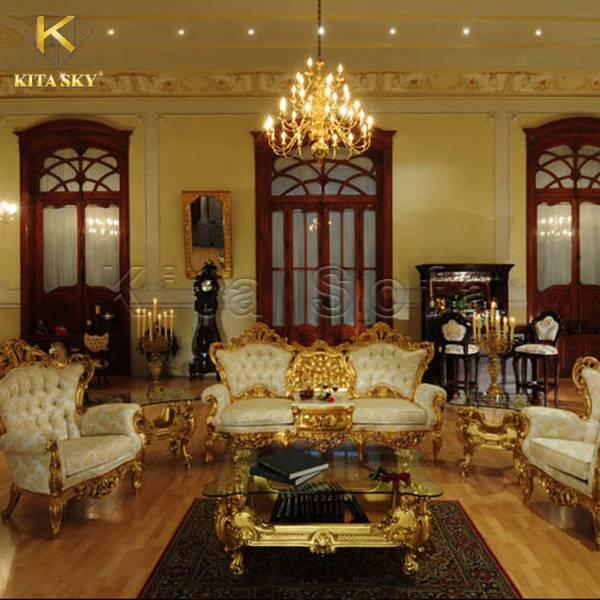 Mẫu bàn ghế sofa dát vàng Oriana vô cùng rực rỡ và xa hoa