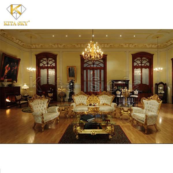 Bộ bàn ghế sofa tân cổ điển dát vàng Oriana