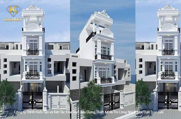 Mẫu thiết kế nhà phố 2 tầng đẹp sang trọng với tông màu trắng quen thuộc chủ đạo.