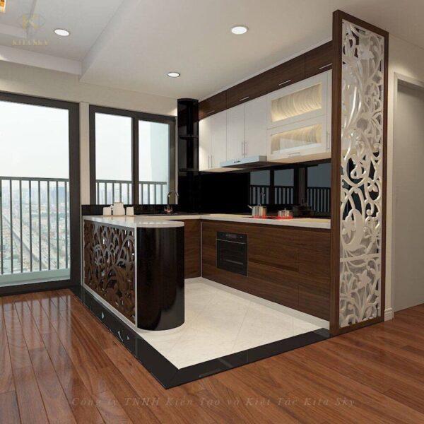 Nội thất phòng bếp cho căn hộ chung cư được thiết kế gọn gàng nhưng cũng đầy sức hút. Với những hoa văn chạm trỗ ấn tượng từ chiếc vách ngăn tinh tế cho đến chiếc bàn quầy ăn uống sang trọng.