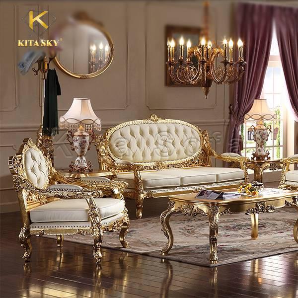 Sofa phòng khách dát vàng Edith – Mẫu sofa dát vàng cao cấp nhập khẩu giá tốt nhất
