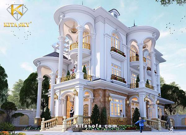 Biệt thự tân cổ điển đẹp - Mẫu thiết kế nhà biệt thự tân cổ điển 2 tầng