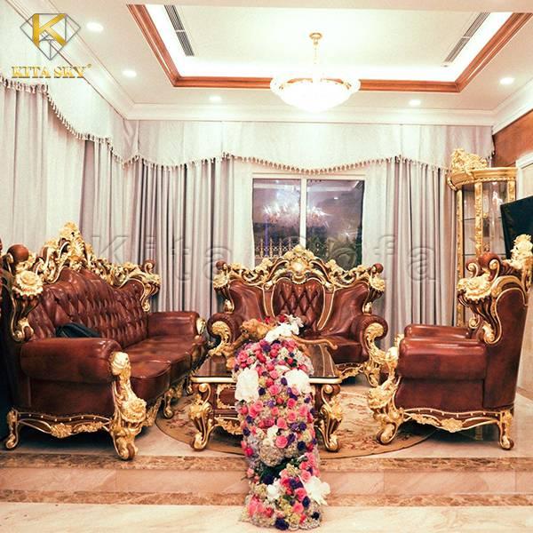 Sofa mạ vàng tân cổ điển Ruby – Viên ngọc quý màu đỏ!