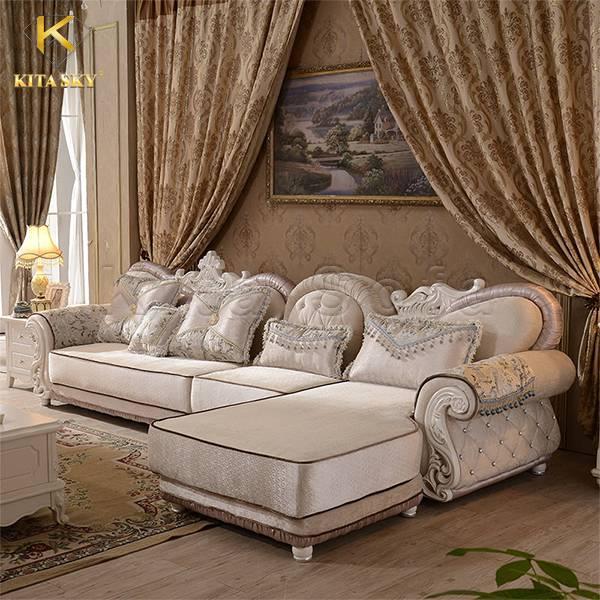 Mẫu sofa bọc vải cao cấp thiết kế góc L cổ điển Sharmaine – Vẻ đẹp đằm thắm quyến rũ