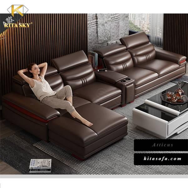 Sofa da đẹp phòng khách Atticus – Ý nghĩa khỏe khoắn và năng động. Mang vẻ đẹp hiện đại cùng lối thiết kế thông minh. Trở thành sự lựa chọn hàng đầu của khách hàng ngày nay.