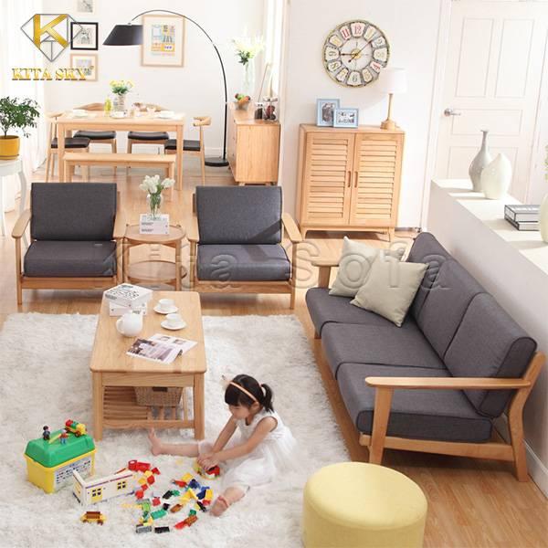 Xu hướng sofa gỗ bọc vải đơn giản, tinh tế đậm chất hiện đại cho không gian thêm sang trọng.
