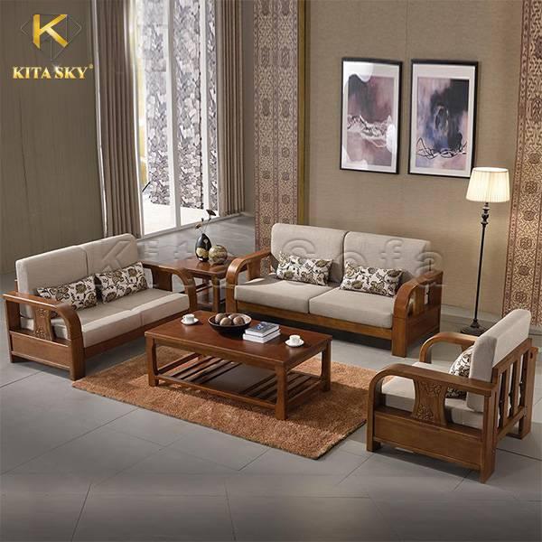 Sofa gỗ nệm vải từ Kita - Thiết kế đơn giản cho phòng khách hiện đại