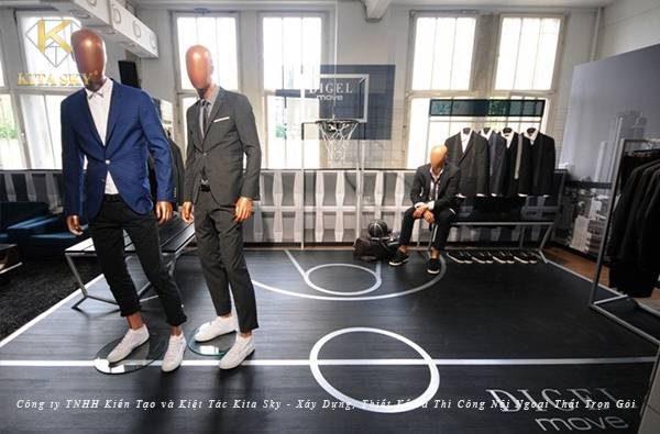 Thiết kế shop quần áo nam cho không gian nhỏ. Đường lối thiết kế gây ấn tượng với sự tinh giản, hiện đại nhưng cũng không kém phần cá tính