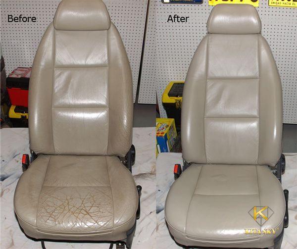 Hình ảnh trước và sau khi bọc ghế simili xe hơi. Chiếc ghế cũ mèm bị sờn nứt đã được tân trang một cách kỹ lưỡng nhất.