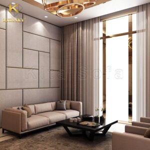 Vách ốp bằng vải nệm sang trọng và ấn tượng khi phối hợp cùng lối thiết kế kiến trúc hiện đại.