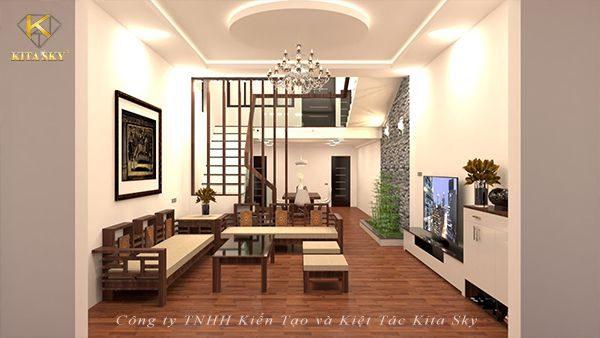 Nội thất phòng khách hiện đại với không gian sàn gỗ ấm cúng nhưng vô cùng sang trọng. Thêm một bộ ghế gỗ tinh tế cùng cầu thang gỗ đơn giản là bạn có một không gian tiếp khách hoàn hảo