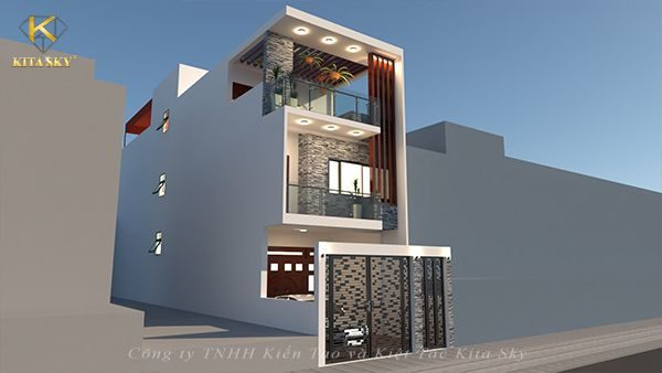 Tổng quan toàn bộ ngôi nhà được dựng theo phong cách thiết kế nhà đẹp hiện đại theo góc nhìn bên trái