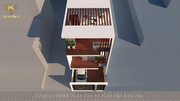 Không gian thiết kế nội thất nhà ở phong cách hiện đại nhìn từ trên xuống
