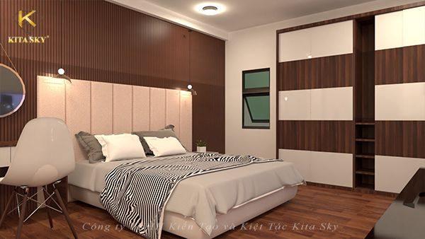 Thiết kế nội thất phòng ngủ với chiếc giường ngủ đơn giản. Điểm nhấn chủ chốt là nệm đầu giường - Dòng sản phẩm bảo vệ giấc ngủ hoàn hảo đang khá được yêu thích những năm gần đây
