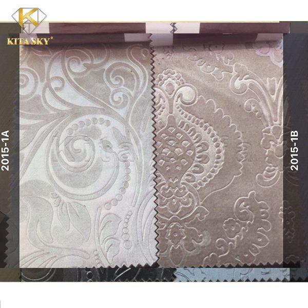 Vải nỉ bọc sofa màu kem - xám trang nhã tinh tế trên nền hoa văn thanh lịch