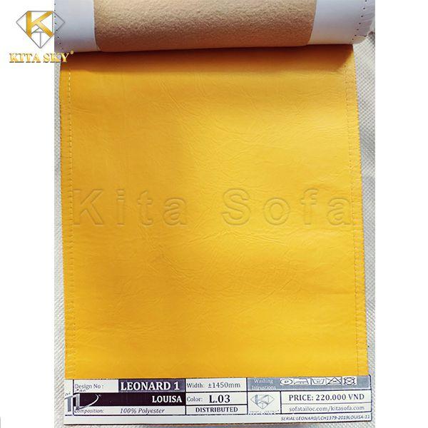Vải sofa gải da với gam màu vàng óng ấn tượng dễ dàng giúp nổi bật không gian của bạn.