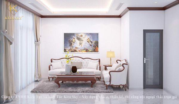 Nội thất phòng khách tân cổ điển đẹp mắt và sang trọng với điểm nhấn là bộ sofa tân cổ điển thanh lịch