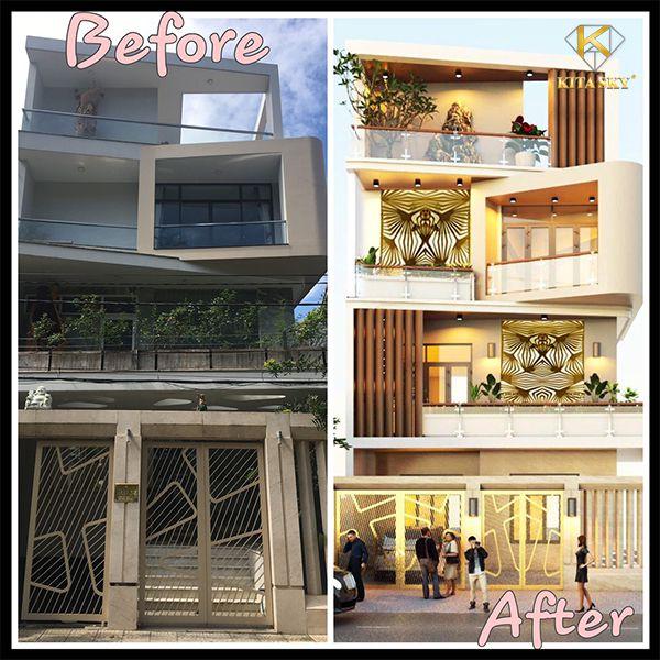 Thiết kế nhà theo yêu cầu theo phong cách hiện đại. Hình ảnh trước và sau khi thi công