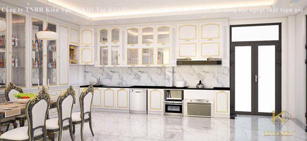 Mẫu thiết kế nội thất tân cổ điển phòng bếp cực sang trọng với chất liệu đá marble và phào chỉ tinh tế