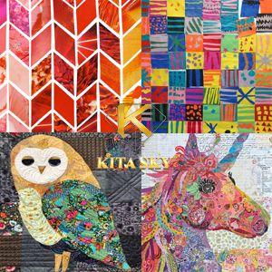 Vải hoa văn cắt ghép collage pattern