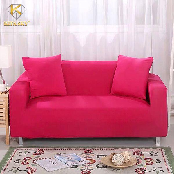 Drap ghế sofa màu hồng tươi mới, ngọt ngào
