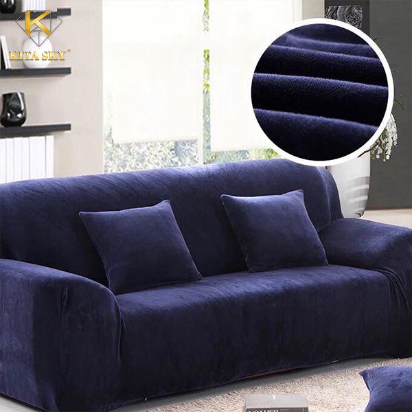 Ga phủ ghế sofa màu xanh