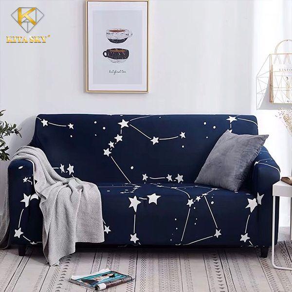 Ga phủ trải ghế sofa màu xanh hoa văn ngàn sao