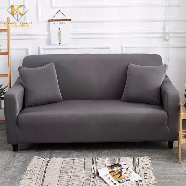 Tấm bọc sofa màu xám trơn nhẹ nhàng, tinh tế