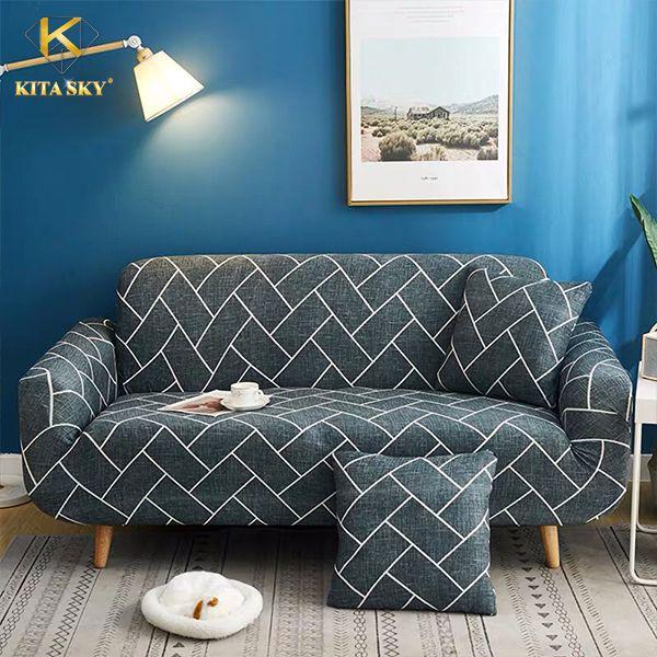 Tấm phủ sofa họa tiết gạch xếp mạnh mẽ