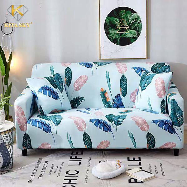 Vải bọc ghế sofa cao cấp họa tiết hoa lá tropical ấn tượng