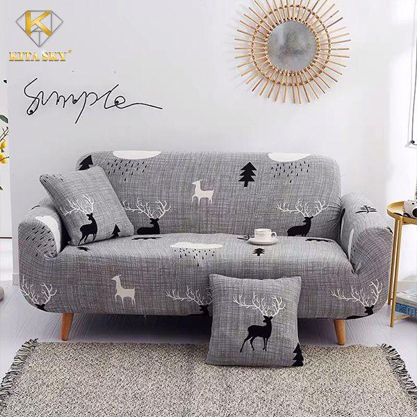 Vải bọc sofa nhập khẩu màu xám hoa văn hươu sao rất được ưa chuộng