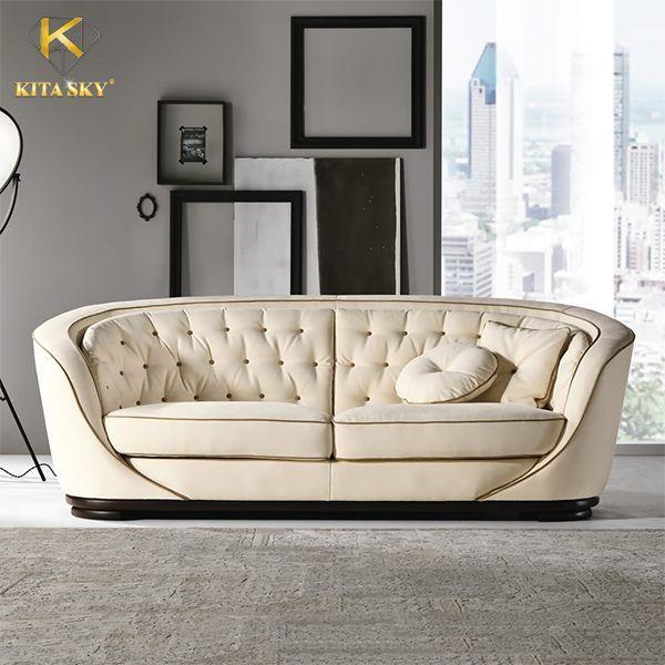 Sofa da cao cấp với đường nét cầu kỳ tôn lên nét đẹp sang trọng, đẳng cấp
