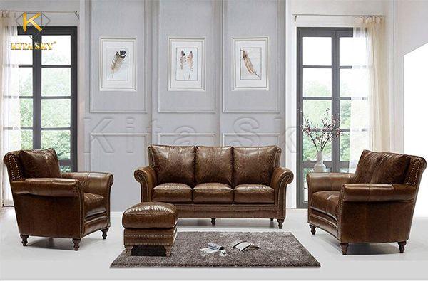 Sofa bọc bằng chất liệu da thật mang đến vẻ đẹp sang trọng