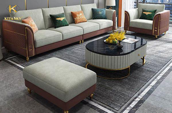 Sofa da phối vải