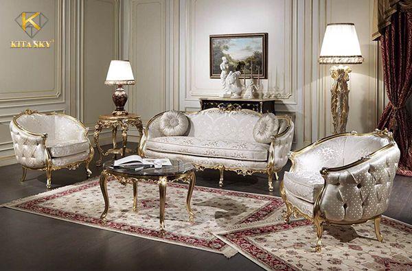Sofa vải nhung dát vàng